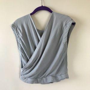 Sabo Skirt NWOT grey drape crop top open back